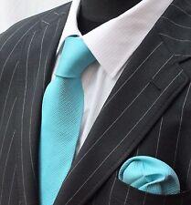 Tie Neck tie with Handkerchief Turquoise S02