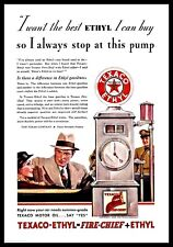 1933 TEXACO AD Features Nice Image of Antique Gas Gasoline Pump