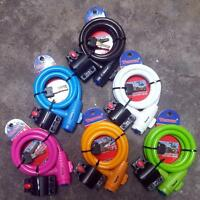 Heavy Duty Steel Cable Mountain Bike Cycle Spring Safety Thick Security lock12mm