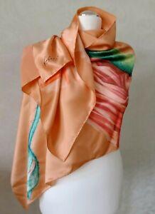 FABRIC FRONTLINE Zurich long silk satin scarf shawl |Orange green floral