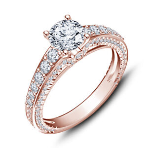 925 SS 1.50 Carat Round Cut Diamond Solitaire 10K Rose Gold Over Wedding Ring