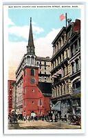 Postcard Old South Church & Washington Street, Boston, MA B13