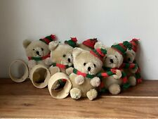 Vintage Christmas Napkin Ring Holder Winter Teddy Bear Holiday Set Of 6