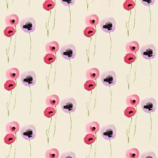 Sanderson Poppies Pink & Lilac Fabric Sold Per Metre