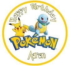 Pokemon PERSONALISED EDIBLE Icing Cake Topper Round