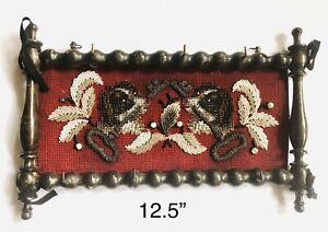 Antique Victorian Spaniel Dogs Beaded Needlepoint Key Holder Spool Work Frame