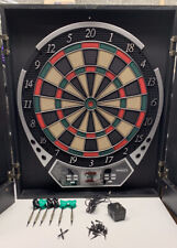 Halex Cabinet Style Electronic Dart Board Deluxe Wood Cabinet Battery Or 120V