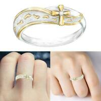 Exquisite charm simple Fashion Jewelry Silver Footprints Ring Cross Sign E3U0