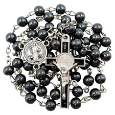 BLESSED CATHOLIC ROSARY NECKLACE Hematite Beads Saint Benedict Medal & Crucifix