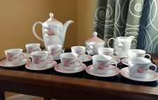 27-Pc KAHLA Calla Lily Porcelain China Tea/Coffee Set for 10; White, Pink, Gray