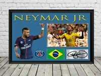 Neymar Signed Photo Poster Print Autographed Football Memorabilia