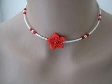 Collier enfant  fille Rouge /couleur Ivoire p robe Cérémonie/Soirée fleur perle