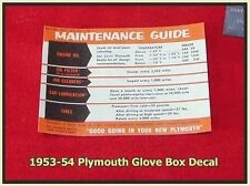 1953-1954 Plymouth Glove Box Guide Decal Belvedere Cranbrook Suburban Belvedere