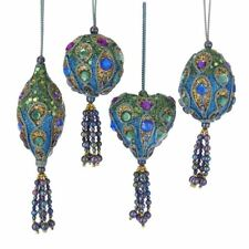 Set of 4 PEACOCK Sequined Christmas Ornaments, by Kurt Adler