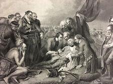 1857 French & Indian War Battle of Quebec Death General Wolfe Antique Print