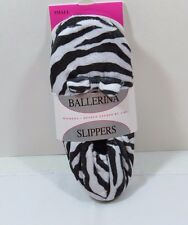 Women's Plush Ballerina Slippers in Classic Zebra Print with bow Size Small
