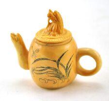 Vintage Chinese Bone Hand Carved Handmade Flower Teapot Miniature Dragon