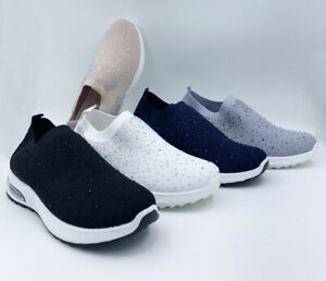 Footwear Sale Women Fashion Crystal Elasticated Comfort Trainers Sneakers Size