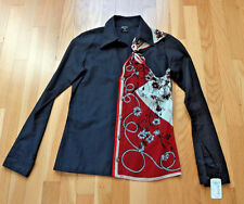 NWT Jean Paul Gaultier Femme Cotton Button Down Black w/Detailed Knot Shirt sz 4