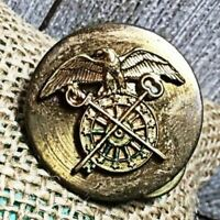 VINTAGE WWI ORIGINAL US Army Brass Disk Pin Military EAGLE SWORD KEY WHEEL