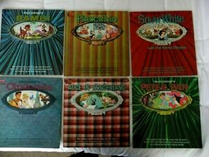(6) 1960s Disney Magic Mirror Storybook LP Records Bambi Pan Alice Snow Cind Pin