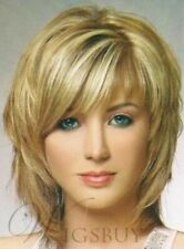 Charming Fluffy Layered Blonde Medium Straight Wig Synthetic Hair Capless