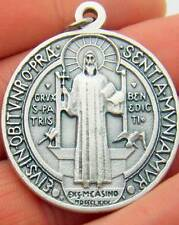 "MRT Large St Saint Benedict Medallion Silver Plate Medal Gift 1.5"" Gift Italy"