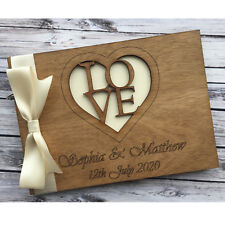 Personalised Wedding Engagement Anniversary Birthday Guest Book Album Wooden