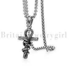 Vintage Egyptian Ankh Cross Of Life Snake Pendant Stainless Steel Necklace Mens