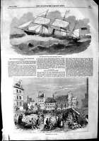 Old Antique Print 1853 Australian Royal Mail Steam Ship Sydney Ham Paris 19th