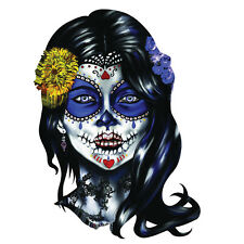 Sugar Skull Woman Sugar Face Decal Sticker Set of 2 - Window Car Laptop Toolbox
