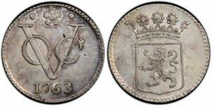 Netherlands East Indies silver 1/2duit 1763 Utrecht toned uncirculated PCGS SP62