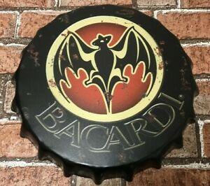 Bacardi Rum Party Fun Vintage Retro Wall Display Sign Metal Bottle Top 35cm
