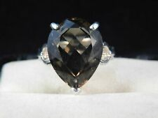 11.26 Ct. Smoky Quartz Ring Simple Sterling Silver