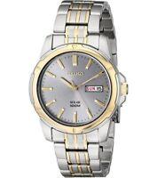 Seiko SNE098 Solar Grey Dial 100M Luminous Two Tone Men's Watch $265