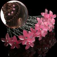 5 STÜCKE Exquisite Mi Braut Weiße Perle Blume Haarnadel Kristall Strass Cli I4W1