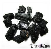 BAG of 13 NATURAL BLACK TOURMALINE STONES Wicca Pagan Crystal Healing