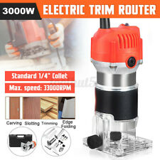 110V/220V 680W Trim Router Edge Wood Clean Cuts Power Woodworking Too