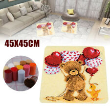 Large Latch Hook Rug Carpet Kit for Making Bear Balloon Pattern Cushion DIY