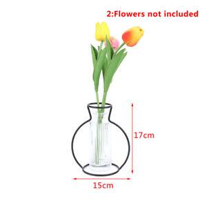 New Style Retro Iron Line Flowers Vase Metal Plant Holder Modern Home DecorB FJ