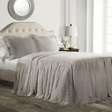 Gray Grey Twin Full Queen King Size Solid Ruffled Farmhouse Bedspread Set Shams