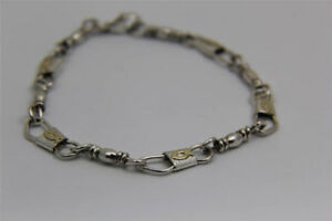 Emmaus Sterling Silver Fishers Of Men Bracelet with 10kt Gold Ichthys (fish)
