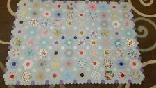 Vintage Handmade Hand Sewn Grandmother's Flower Garden Quilt Top Feed Sack Top