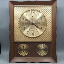 Vintage Westclox Taurus Brass Mesh Wall Clock Weather Station Nocord Model 83037