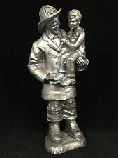 Vintage 2001 Michael Ricker Hand Signed 9/11 FIREFIGHTER Pewter Statue Tribute