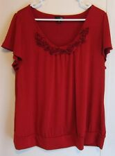 WOMEN'S DARK RED TOP FABRIC ROSES NECKLINE by east 5th XL New no tag MINT