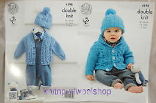 KINGCOLE 4198 BABY DK KNITTING PATTERN  16-26 IN -not the finished garments