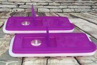 Tupperware Set Of 2 Freezer Mates Fresh & Pure Ice Trays Purple Flip Top Lids