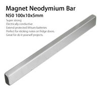100x10x5mm N50 Bar Super Strong Long Cuboid Block Rare Earth Neodymium Magnet Ef