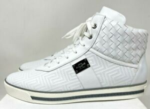 Gianni Versace Men's white Leather High Top Sneaker shoes size 13